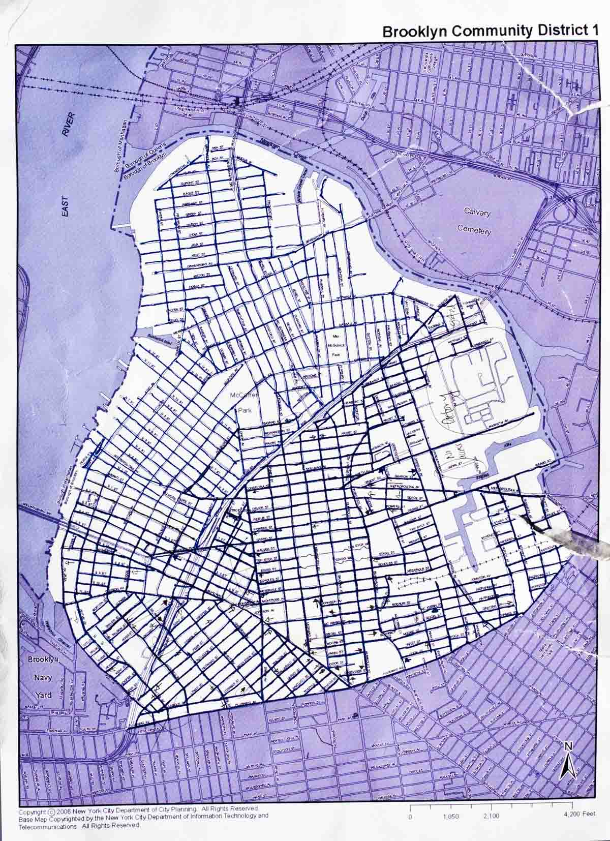 Map of Williamsburg.  It is here that both the Jackson Gents and Mafia had a presence.
